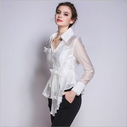$enCountryForm.capitalKeyWord Canada - Korean New Fashion Women Clothes 2016 V-neck Long Sleeve White Shirt Women Office Wear White Elegant Pure Silk Blouses