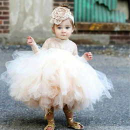 Barato Meninas Dres Vestido-Lovely Puffy Tulle Ball Gown Flower Girl Dress Jewel Lace Manga comprida Bebê Comunhão Vestido Meninas Vestido formal para casamentos Christening Dres
