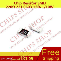 Wholesale-1LOT=100PCS Chip Resistor 220ohm 221 0603 5% 1 10W 0.1W Package0603 from resistor smd kit manufacturers