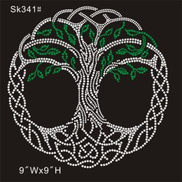 $enCountryForm.capitalKeyWord Australia - SK 341# Crystal green tree custom from china factory rhinestone transfer designs DIY iron on t-shirt 30piece