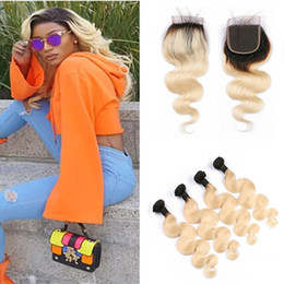 $enCountryForm.capitalKeyWord NZ - Dark Roots Blonde 1B 613 Ombre Virgin Hair Bundles With Lace Closure Russian Body Wave Ombre Human Hair Weaves With 4*4 Top Closure