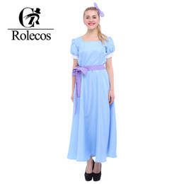 Barato Peter Cosplay-Rolecos US Size - Green Elf <b>Peter Pan Cosplay</b> Costume Wendy Blue Dresses GC08