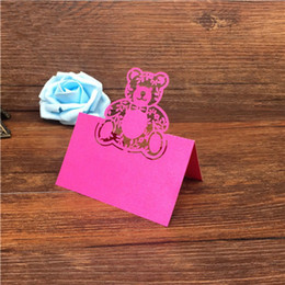 $enCountryForm.capitalKeyWord Canada - 50pcs lot 2017 new laser cut hollow lovely Bear design wedding Birthday intation name table cards for party supplies