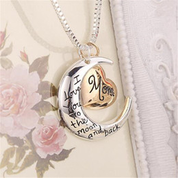 $enCountryForm.capitalKeyWord Australia - Heart Shaped Charm Necklace Jewelry I love You to The Moon And Back Mom Pendant Necklace Mother Day Jewelry Christmas Gift