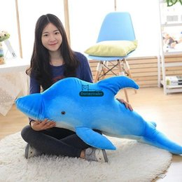$enCountryForm.capitalKeyWord Canada - Dorimytrader NEW Lovely 120cm Big Simulated Animal Dolphin Plush Pillow Doll 47'' Soft Stuffed Blue Cartoon Dolphins Kids Play Toy DY60132