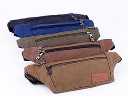 Male canvas bags online shopping - Men Male Casual Functional Fanny Bag Canvas Waist Bag Money Phone Belt Bag With Army Green Black
