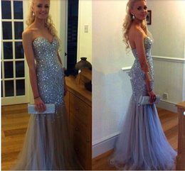Long Cœur Long Pas Cher-Fashion Prom Dress 2017 Nouveau Perles Sweatheart Sirène Long Tulle Cristal Perles Evening Par