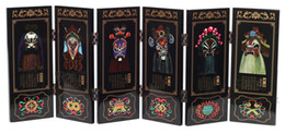 bamboo screening Canada - Antique screen six Peking opera fan painting crafts business gifts, gifts Foreign Affairs Home Furnishing jewelry ornaments