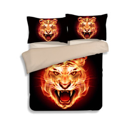 $enCountryForm.capitalKeyWord Australia - Hot Fire Black Tiger Head Printing Bedding Sets Twin Full Queen King Size Fabric Cotton Bedclothes Duvet Covers Pillow Sham Comforter Animal