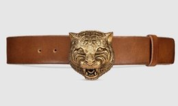 $enCountryForm.capitalKeyWord Australia - Jiangyu Leather Belt With Feline Buckle Style 409420 Cve0t 2535 Blooms Belt Snake Bee Dragon Tiger Head Feline Buckle Official Men Belt With