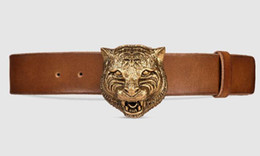 $enCountryForm.capitalKeyWord Australia - linlin Leather Belt with Feline Buckle Style 409420 CVE0T 2535 Blooms belt snake bee dragon tiger head feline buckle Official Men Belt With