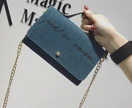 navy chain handbag Australia - 2017. Denim. Small. Mini. Women's Bags. Soft. Handbag. Fashion casual bag. Metal chain. Mobile phone bag. Cross Body.Shoulder Bags. Girl.