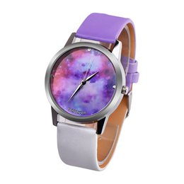 moon watch women 2019 - New Women Fashion Life Purple Starry Sky Moon Leather Strap Watch Casual Quartz Watches Clock reloj mujeres cheap moon w