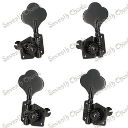 Discount knobs electric guitars - A Set 4 Pcs Black Open Gear Bass String Tuners Tuning Pegs Keys Machine Heads for Electric Bass Guitar