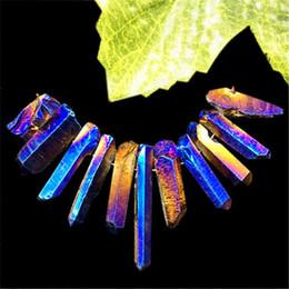 $enCountryForm.capitalKeyWord UK - 11pcs Beautiful Blue Titanium Crystal Agate Druzy Quartz Geode Stone Pendant Bead Set