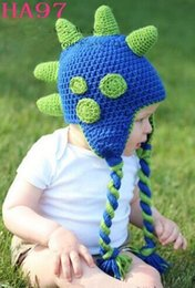 Barato Chapéus Dos Crocodilos Dos Dinossauros-Crochet Dinosaur Knitted Caps Newborn Infant Toddler Baby Boys Girls Hallowmas Natal Animal Hat Crianças Dino Beanie Cotton Photo Props