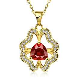 $enCountryForm.capitalKeyWord NZ - Brand new women's Flower mosaic 18k gold jewelry pendant necklace WGN893,A++ Yellow Gold red gemstone Necklaces with chains