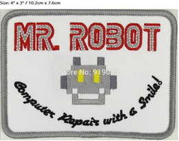 Robot Cosplay Pas Cher-MR ROBOT FSOCIETY WHITE TV SHOW film Embroidered Iron On Emblem applique halloween costume cosplay