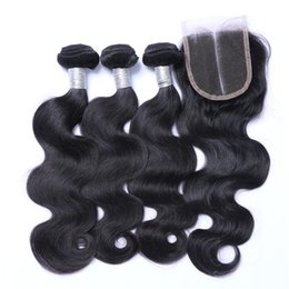 Discount light brown body wave - Brazilian Body Wave Human Remy Hair Weaves With 4x4 Lace Closure Bleached Knots 100g pc Natural Color Double Wefts 4pcs