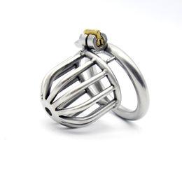 Jaula de acero inoxidable jaula de acero jaula de martillo cinturón de castidad masculina anillo de pene cinturón de bloqueo dispositivo de castidad juguetes sexuales productos sexuales A259