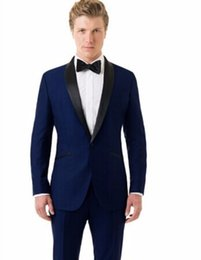 wedding blazers design UK - Classic Design Groom Tuxedos Groomsmen Blue Shawl Lapel Best Man Suit Wedding Men's Blazer Suits (Jacket+Pants+Tie) K387