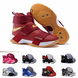 Barato Laço Preto Barato-Cheap LeBron Soldier 10 X Men Basketball Shoes LBL Lebron Soldados Sapatos Black White Championship Edição Limitada Lebrons Running Shoes