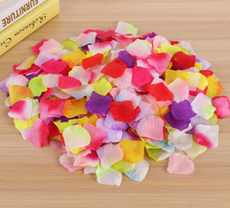 silver wedding confetti NZ - 2000pcs Flowers Silk Rose Petals Wedding Party Table Confetti Decoration Christmas Decor High Quality Multi Colors