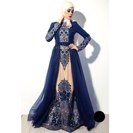 China 2017 Vintage Arabic Muslim High Neck Navy Blue Long Sleeves Evening Dresses Embroidery Tulle A Line Prom Gowns BA4923 cheap nude tulle black embroidery suppliers