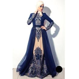 $enCountryForm.capitalKeyWord Australia - 2017 Vintage Arabic Muslim High Neck Navy Blue Long Sleeves Evening Dresses Embroidery Tulle A Line Prom Gowns BA4923