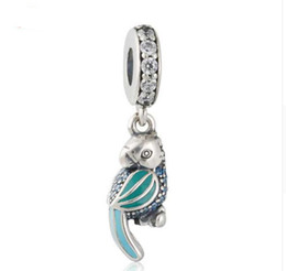 4fa7a8f35c89 TopeasyJewelry 2016 Summer New 925-sterling-silver Animal Colgante Charm  Enamel Tropical Parrot Dangle Charm Beads Fit Marca pulsera DIY