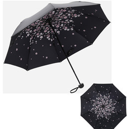 $enCountryForm.capitalKeyWord UK - Hot Sell - Women Ladies Black Romantic Sakura Rain Umbrellas, Cherry Blossoms 3 Folding Umbrella (Pongee Material)
