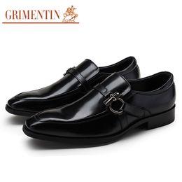 Genuine Leather Black Men Shoes NZ - GRIMENTIN Hot sale Italian fashion formal mens dress shoes black brown blue men oxford shoes genuine leather business wedding men shoes