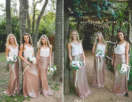 gold silk chiffon bridesmaid dresses Australia - 2017 Vintage False Two Pieces Chiffon Top Sequined Bridesmaid Dresses Long Rose Gold Prom Evening Gowns Junior Wedding Party Guest Gowns