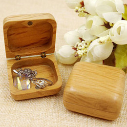 Wedding Display Cases Canada - Luxury Wooden Jewelry Box Wedding Ring Bearer Box Wood Earring Necklace Storage Box Ring Holder Display Case Gift Boxes ZA3181