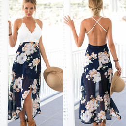 Empire Print Floral Walle Pas Cher-2017 Sexy Casual Boho Summer Long Beach Robes Casual Printed White Lace Hollow Out Sexy Backless Maxi Robes Bohemian Party Robes FS2023