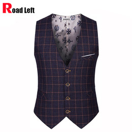 Wholesale- British Preppy Style Men's Business Casual Suit Vest Men Slim Plaid Dress Vests Male Single Breasted Sleeveless Waistcoat Jacket