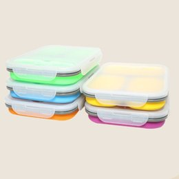 Blue seal food online shopping - Silicone Foldable Lunch Box Portable Safe Three Grid Lunchbox Seal Up High Temperature Resistant Bento Boxes Universal xf B R