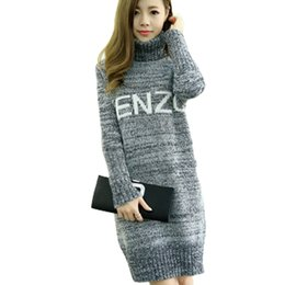 6c9bcf44c5 Wholesale-New Fashion Women Solid Long Style Turtleneck Casual Cute  Pullovers Thick Warm Full Sleeve Autumn Winter Sweaters Letter Pattern