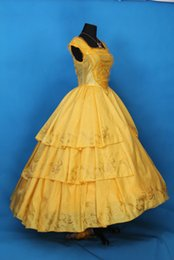 Discount beauty beast costumes - 100%real yellow ruffled belle glitter princess dance ball gown beauty&beast cosplay Renaissance Victoria Belle Ball