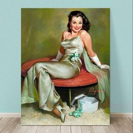 $enCountryForm.capitalKeyWord NZ - Framed GIL ELVGREN Captivating,Pure Handpainted Pinup Girl Art Oil Painting On Quality Canvas Multi Sizes Free Shipping Pin071