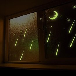 star night sky decorations Canada - Noctilucent Luminous Window Stickers Kids Room Moon And Stars Starry Night Sky Window Stickers for Home Decoration