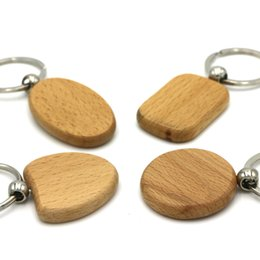 Carved Wood Ring Canada - Blank Wooden DIY Keyring Keychain Key Chain Ring Carving Oval Round Square Heart Shape Key Holder Car Pendant