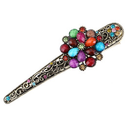 $enCountryForm.capitalKeyWord UK - Wholesale Chinese Vintage Design Hairpin Antique Alloy Colorful Flower Hair Clips Ornament Bohemia Hair Accessories for Female Headdress