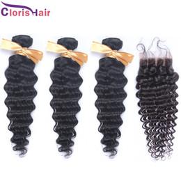 Discount hair bundles way closure - Free Middle 3 Way part Deep Wave Brazilian Lace Top Closures with 3 Bundles Natural Curly Human Hair Weave Cheap Brazili