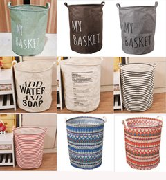 $enCountryForm.capitalKeyWord Canada - Ins Storage Baskets Bins Kids Room Toys Storage Bags Bucket Clothing Organizer Canvas stripe Laundry Bag Home Storage & Organization