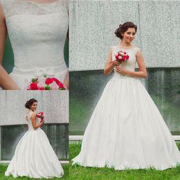 $enCountryForm.capitalKeyWord Canada - 2019 Vintage Garden Wedding Dress with Illusion Neckline Lace Corset Open Back Satin Belt with Bow A-line Elegant Simple Bridal Gowns