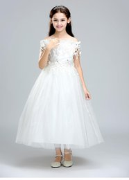 $enCountryForm.capitalKeyWord NZ - Weddings Events Kids Formal Wear Flower Girls' Dresses princess lace flower girl white dress children wedding party gowns for little girls