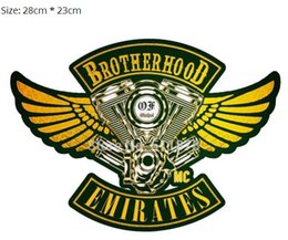 "bikers back patches NZ - 11"" LARGE BROTHERHOOD EMIRATES Outlaw MC Patches Old School Embroidered Motorcycle Biker Vest Iron On Badge emblem Jacket Back"