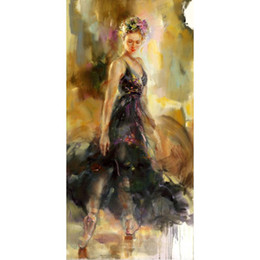 hand painted portraits NZ - modern Portrait paintings Ballerina Lady oil canvas reproduction Hand painted wall decor