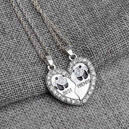 unique best friend jewelry UK - Best Friends Panda Necklace Set Silver Plated Rhinestone Embellished Necklaces Gift Idea Unique Jewelry Chokers Necklaces